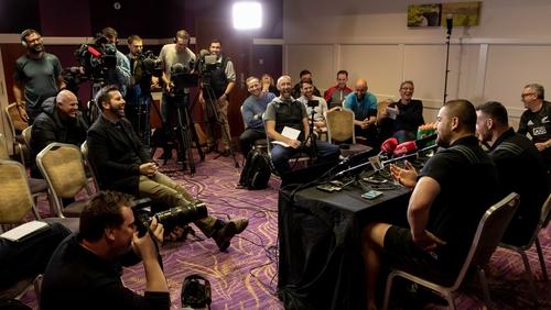 Dane Coles and Ryan Crotty address the media