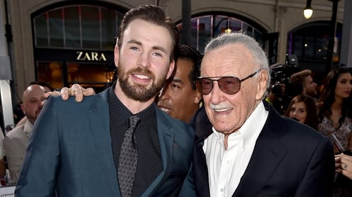 Chris Evans and Stan Lee at the premiere of Captain America: Civil War