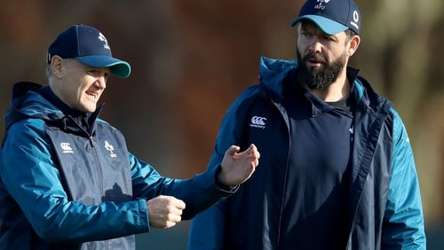 Joe Schmidt and Andy Farrell at Ireland training on Tuesday morning
