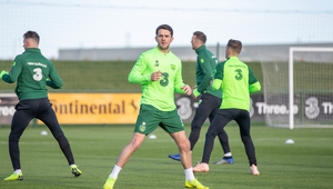 Robbie Brady training with his Republic of Ireland team-mates today