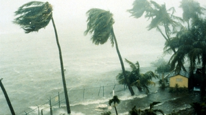 Hurricane Hugo hits St. Croix in the Virgin Islands in 1989. Photo by Gary Williams/Liaison/Getty Images