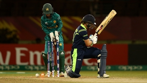 Clare Shillington of Ireland is bowled with Sidra Nawaz, wicket keeper of Pakistan looking on during the ICC Women's World T20 clash