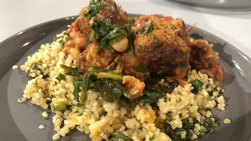 Eunice Power's Spicy Lamb Meatballs in a Spinach and Chickpea Stew