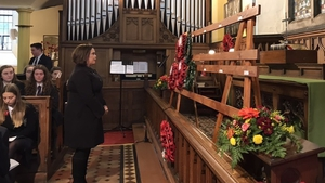 SF leader Mary Lou McDonald laid a laurel wreath for Irish soldiers in Calry Parish Church