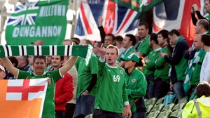 Northern Ireland fans in the Havelock Square End of the Aviva Stadium during the 2011 Carling Nations Cup meeting between the teams