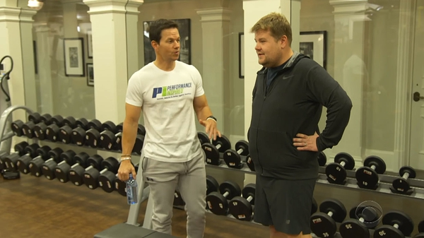 James Corden tries out Mark Wahlberg's workout routine