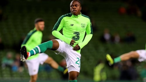 Michael Obafemi came off the bench to make his Irish debut in Denmark