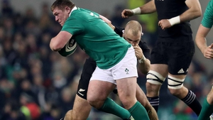 Tadgh Furlong in action against the All Blacks in 2016