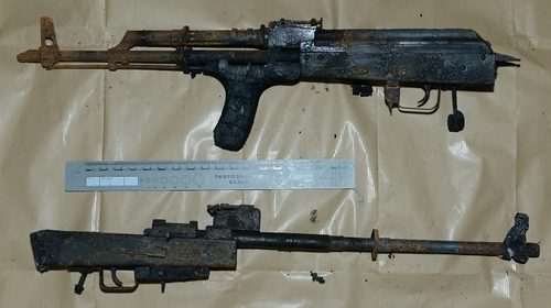 Two AK 47 assault rifles among the weapons discovered