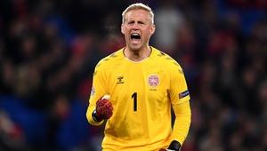Kasper Schmeichel celebrates Denmark's opener