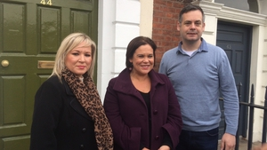 Mary Lou McDonald (C) with Sinn Féin colleagues Michelle O'Neill and Pearse Doherty