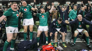 Ireland's Tadhg Furlong, Rory Best, Cian Healy, Peter O'Mahony and Devin Toner celebrate the final whistle