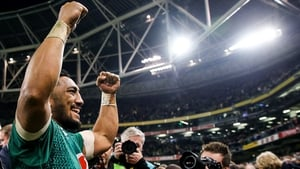 Bundee Aki salutes the crowd after a famous win