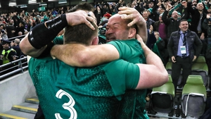 Cian Healy, Tadhg Furlong and Rory Best celebrate the victory over New Zealand