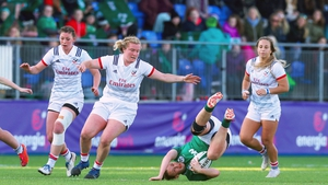 Ireland out-half Nikki Caughey takes a tumble in the defeat to USA at Donnybrook