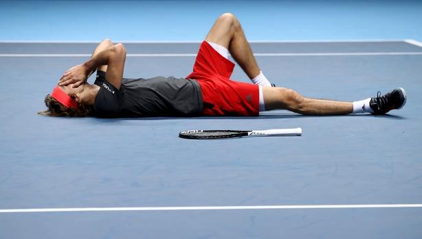 Alexander Zverev's reaction after defeatingNovak Djokovic