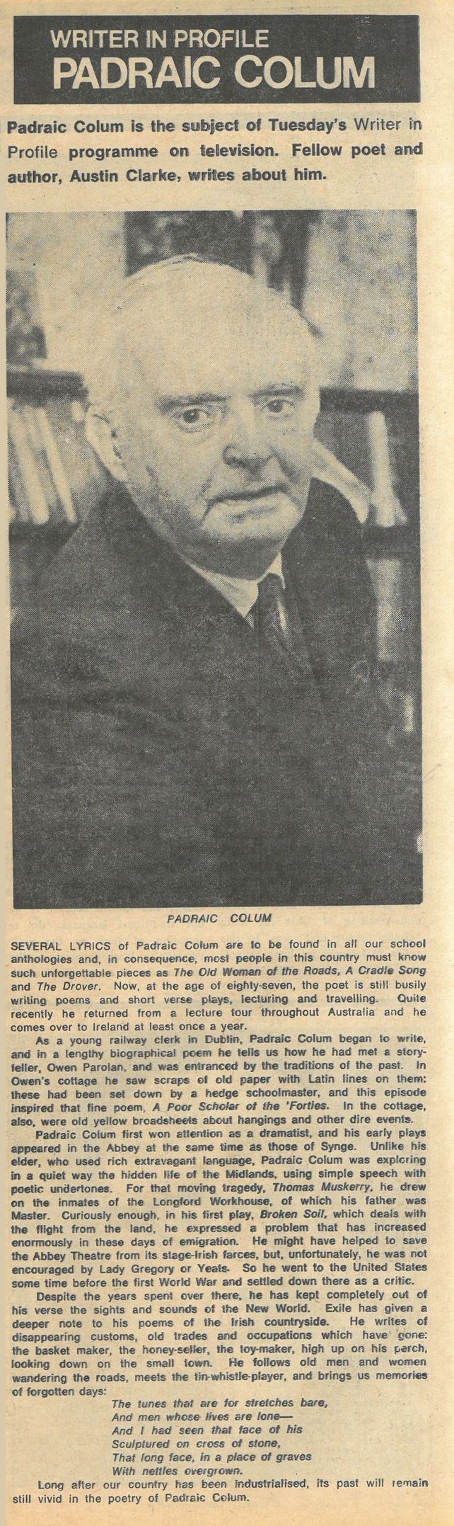 Padraic Colum RTÉ Guide (1968)