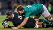 Iain Henderson tackles New Zealand captain Kieran Read during the 16-9 victory at the Aviva Stadium