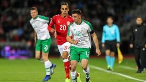 Enda Stevens made his competitive debut in the goalless draw against Denmark