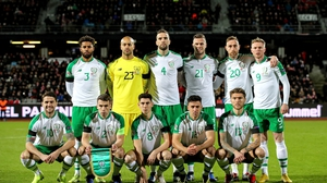 The Ireland team that faced Denmark