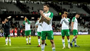 Seamus Coleman claps the Irish fans