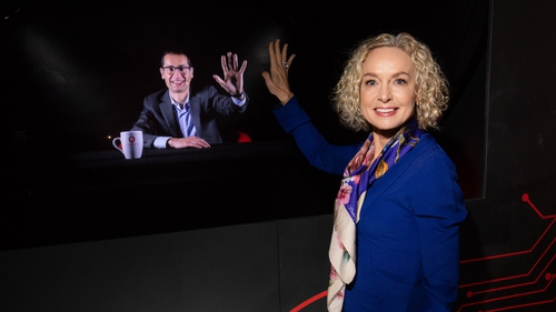 Ireland's Vodafone chief executive Anne O'Leary speaks to Max Gasparroni, in Germany, in the first holographic call from Ireland
