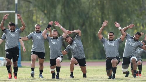 The All Blacks stretch in Rome