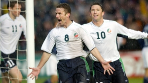 Mark Kinsella (C) and Robbie Keane (R) lined out together for Ireland