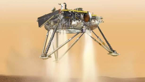 NASA handout shows illustration of simulated view of the In Sight probe about to land on Mars
