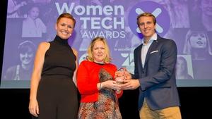 L-R Pixie McKenna, Myra O'Neil (IT Business Leader Winner) & Will Brightling