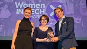 L-R Pixie McKenna, Ruth Fletcher (Fintech Leard Award Winner) & Will Brightling