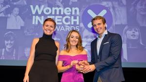 L-R Pixie McKenna, Niamh O Connell (Blockchain Leader Award Winner) & Will Brightling