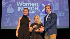 L-R Pixie McKenna, Grainne Bryan (Digital Transformation Award Winner) & Will Brightling