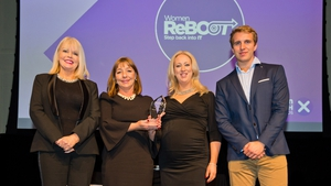L-R Minister Mary Mitchell O Connor, Women ReBOOT (Women in Tech Inititaive Award Winners ) & Will Brightling