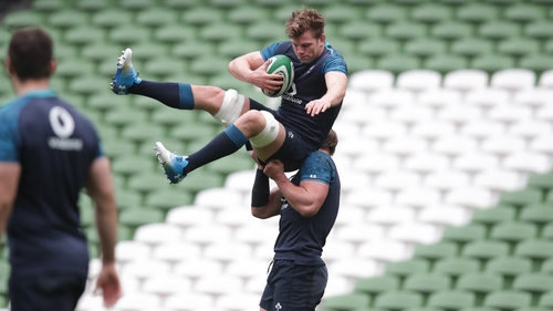 Jordi Murphy, left, and Rhys Ruddock are put through their paces during the captain's run