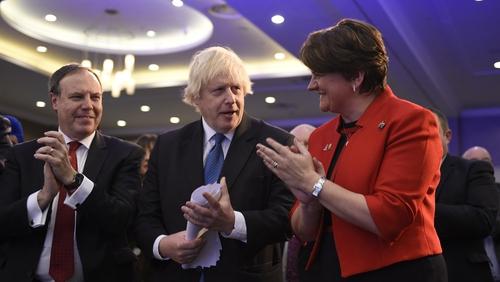 Happier times: DUP leaders Arlene Foster and Nigel Dodds alongside Boris Johnson