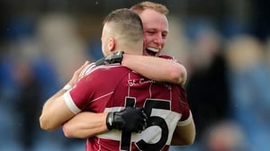 Mullinalaghta's Conan Brady and Aidan McElligott celebrate at the final whistle