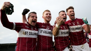 Mullinalaghta players Conor McElligott, Eoghan Keegan, Aidan McElligott and John Keegan celebrate after the final whistle