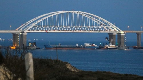 Russia has stopped Ukrainian vessels entering the Sea of Asov by placing a huge cargo ship beneath a Crimean bridge