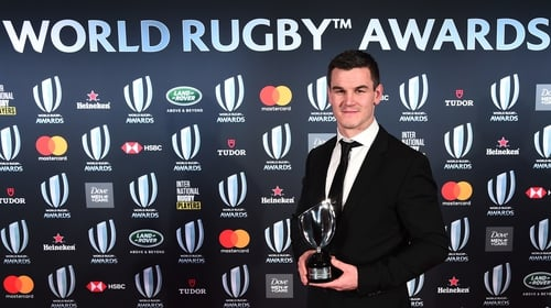 Johnny Sexton poses with the World Rugby Player of the Year award