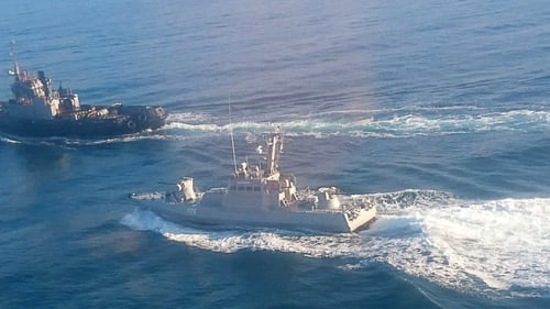 Ukrainian naval tugboat and small artillery vessel in the Kerch Strait yesterday