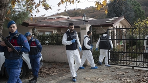 Turkish forensics officers investigate a site at a villa in Yalova