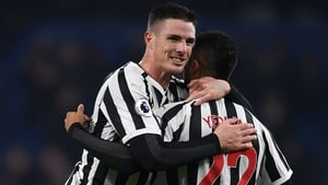 Ciaran Clark celebrates scoring Newcastle's second goal