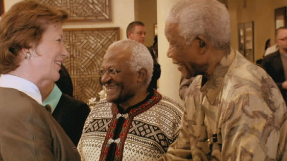 Mary Robinson with Archbishop Desmond Tutu and Nelson Mandela, Johannesburg (2008)