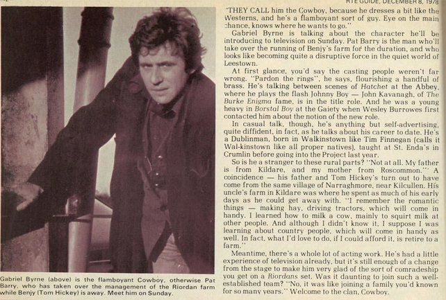 RTÉ Guide 8 December 1978, page 10 Gabriel Byrne