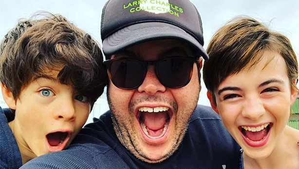 Ferdia Shaw, Josh Gad and Lara McDonnell while filming