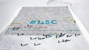 A massive collage on climate change message from children around the world