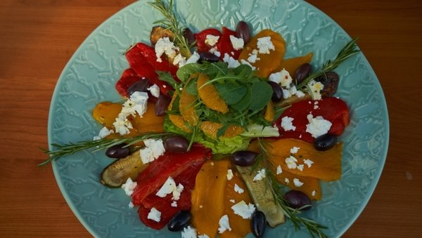 Roasted Red and Yellow Pepper Salad with Feta and Orange Dressing.