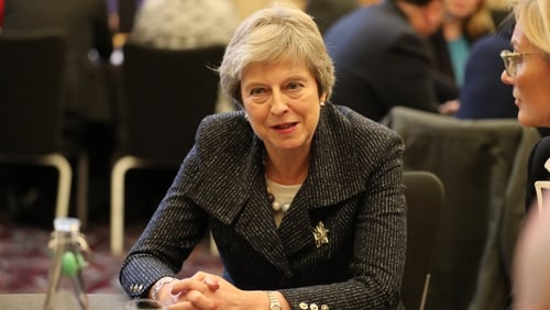 Theresa May was speaking in Belfast