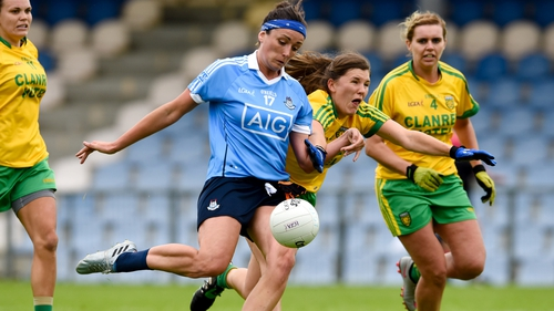 Donegal's Ciara Hegarty challenges Dublin forward Niamh McEvoy during the 2016 All-Ireland quarter-final